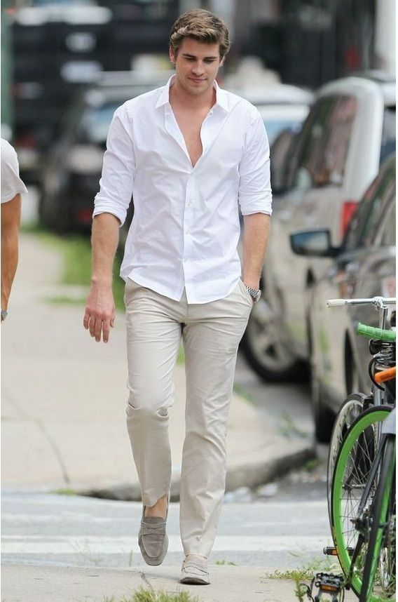 CASUAL WHITE SHIRT WITH CREAM PANTS COMBINATION