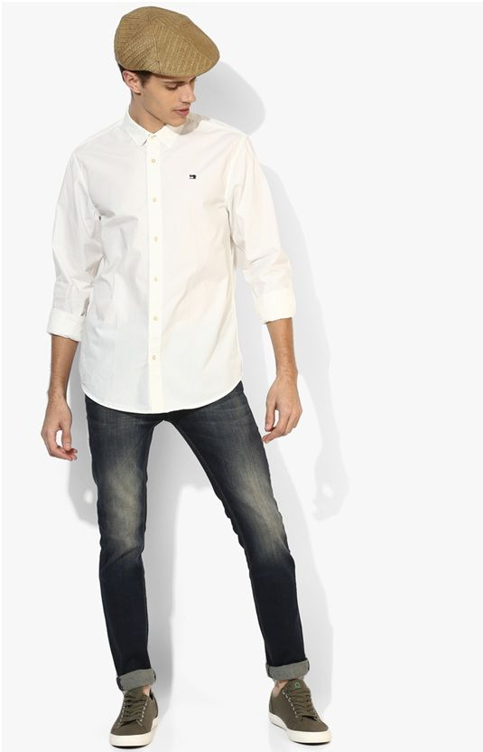 CHARCOAL JEANS WITH WHITE SHIRT COMBINATION
