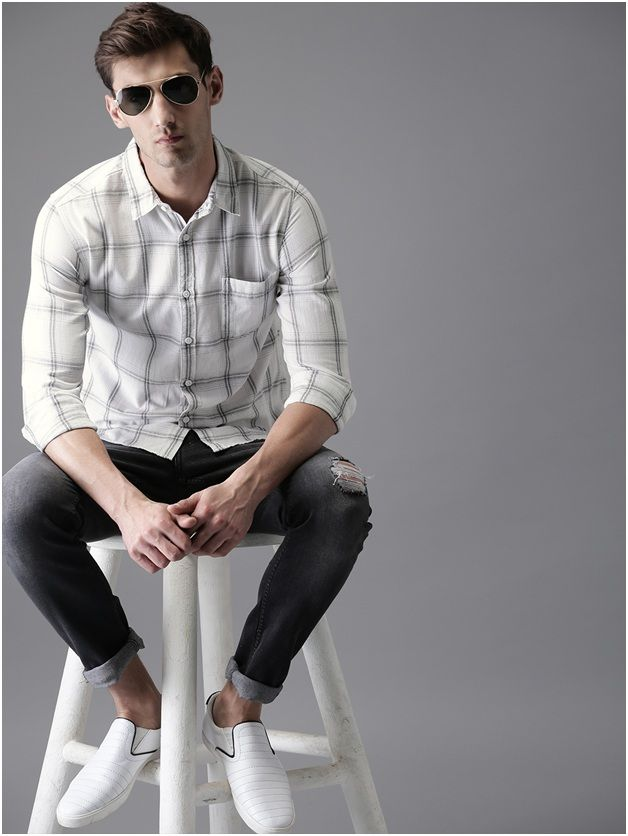 CHECKED STYLE CASUAL WHITE SHIRT
