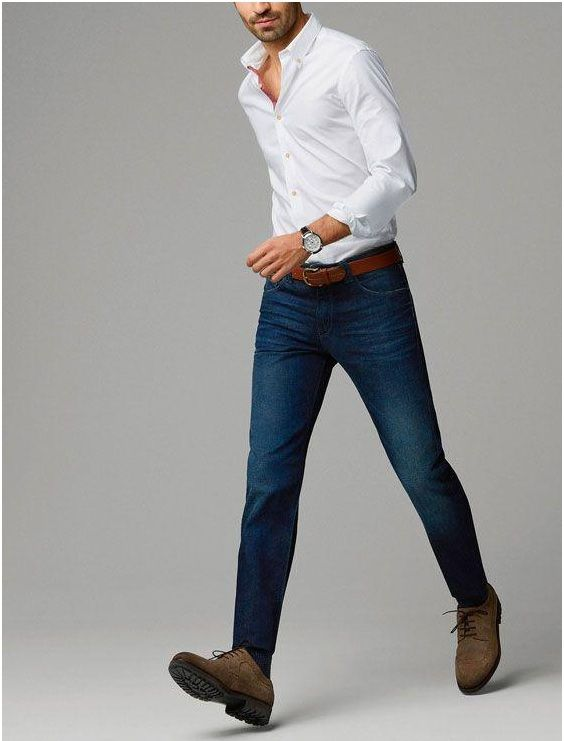 DENIM JEANS WITH WHITE SHIRT COMBINATION