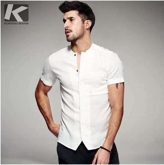 HALF SLEEVES WITHOUT COLLAR WHITE