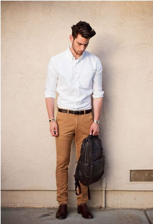 KHAKI PANTS WITH WHITE SHIRT COMBINATION