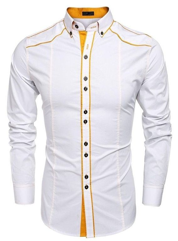 PIPING PATTERN ON CASUAL WHITE SHIRT