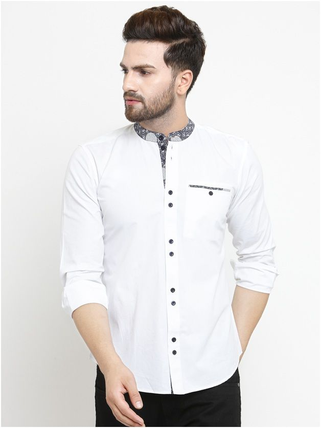 PRINTED COLLAR WHITE CASUAL SHIRT