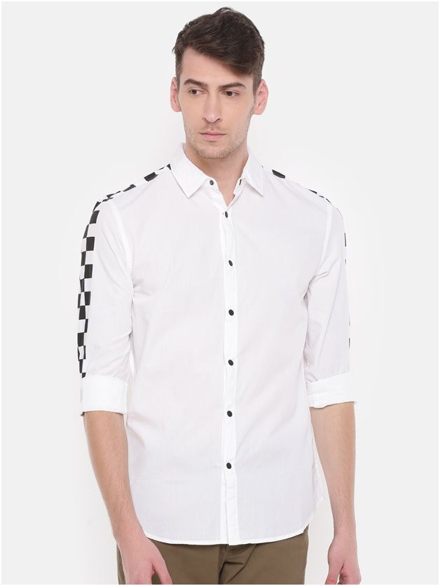 SHOULDER PATTERN CASUAL WHITE SHIRT