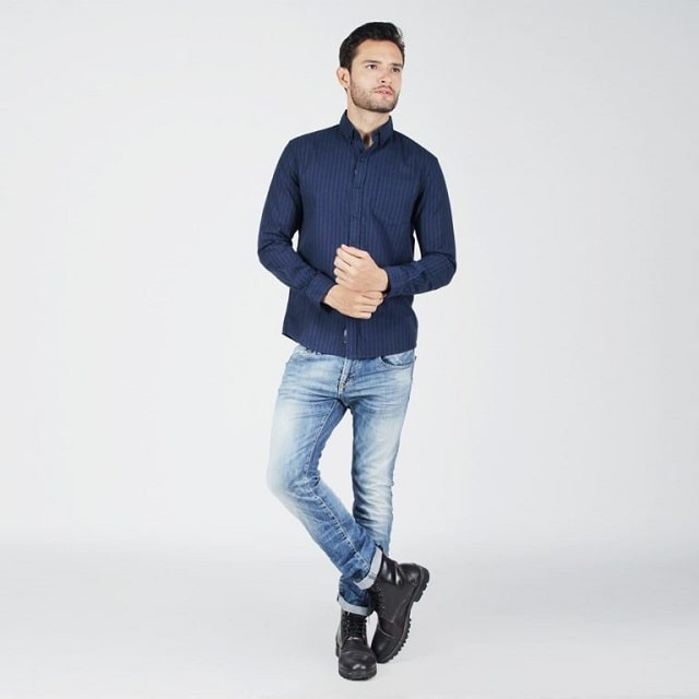 Navy Blue Shirt With Jeans