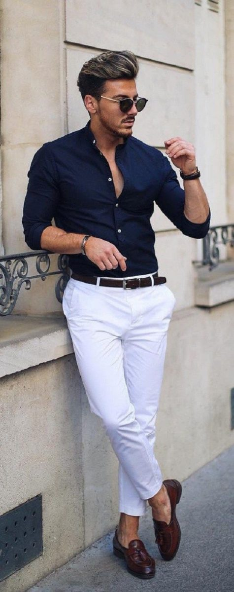 Navy Blue Shirt With White Pant