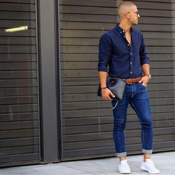 Dark Blue Shirt With Jeans