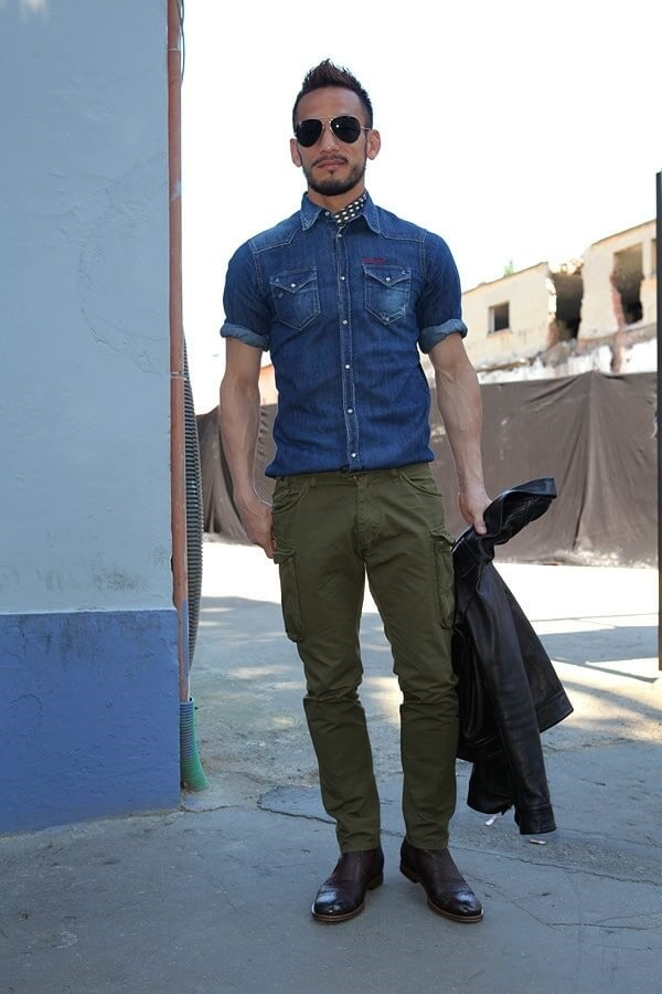 Denim Blue Shirt With Cargo Jeans