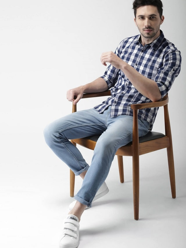 Checked Blue Shirt With Jeans