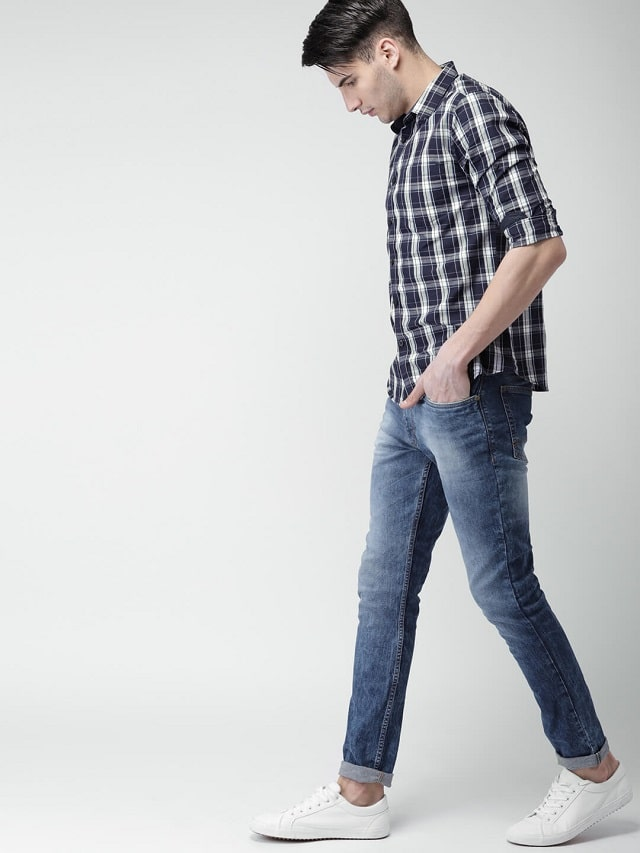 Checked Blue Shirt With Dark Jeans