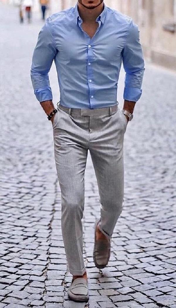 Plain Sky Shirt With Grey Pants